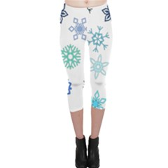 Snowflakes Blue Green Star Capri Leggings