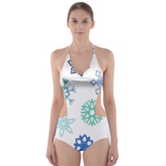 Snowflakes Blue Green Star Cut Out One Piece Swimsuit