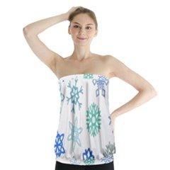 Snowflakes Blue Green Star Strapless Top