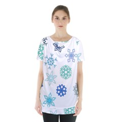 Snowflakes Blue Green Star Skirt Hem Sports Top
