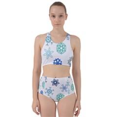 Snowflakes Blue Green Star Racer Back Bikini Set