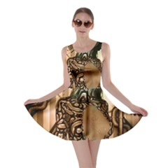 Steampunk, Steampunk Women With Clocks And Gears Skater Dress