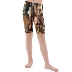 Steampunk, Steampunk Women With Clocks And Gears Kids  Mid Length Swim Shorts