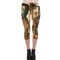 Steampunk, Steampunk Women With Clocks And Gears Capri Leggings