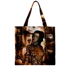 Steampunk, Steampunk Women With Clocks And Gears Zipper Grocery Tote Bag