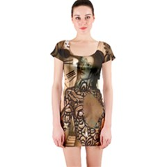 Steampunk, Steampunk Women With Clocks And Gears Short Sleeve Bodycon Dress