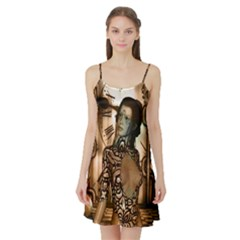Steampunk, Steampunk Women With Clocks And Gears Satin Night Slip
