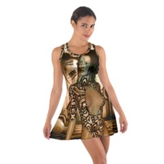 Steampunk, Steampunk Women With Clocks And Gears Cotton Racerback Dress