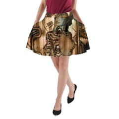 Steampunk, Steampunk Women With Clocks And Gears A Line Pocket Skirt