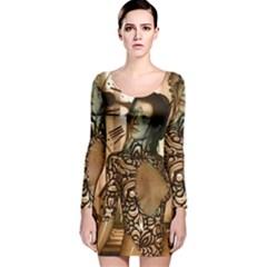 Steampunk, Steampunk Women With Clocks And Gears Long Sleeve Velvet Bodycon Dress