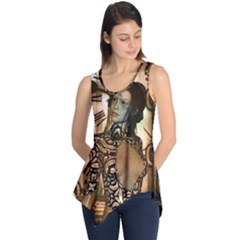 Steampunk, Steampunk Women With Clocks And Gears Sleeveless Tunic