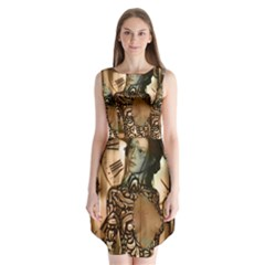 Steampunk, Steampunk Women With Clocks And Gears Sleeveless Chiffon Dress