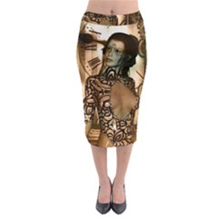 Steampunk, Steampunk Women With Clocks And Gears Midi Pencil Skirt