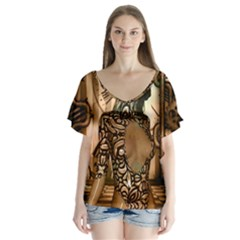 Steampunk, Steampunk Women With Clocks And Gears V Neck Flutter Sleeve Top
