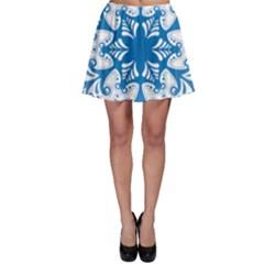 Snowflakes Blue Flower Skater Skirt