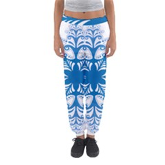Snowflakes Blue Flower Women s Jogger Sweatpants