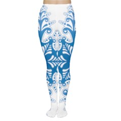 Snowflakes Blue Flower Women s Tights