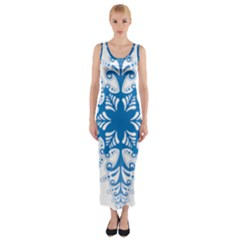 Snowflakes Blue Flower Fitted Maxi Dress