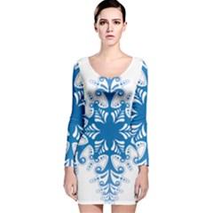 Snowflakes Blue Flower Long Sleeve Velvet Bodycon Dress