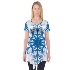 Snowflakes Blue Flower Short Sleeve Tunic