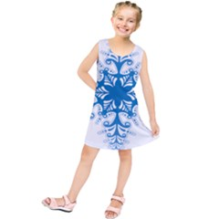 Snowflakes Blue Flower Kids  Tunic Dress