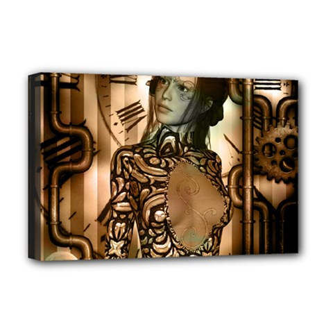 Steampunk, Steampunk Women With Clocks And Gears Deluxe Canvas 18  X 12