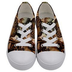 Steampunk, Steampunk Women With Clocks And Gears Kids  Low Top Canvas Sneakers