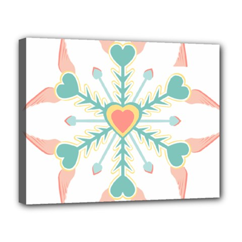 Snowflakes Heart Love Valentine Angle Pink Blue Sexy Canvas 14  X 11