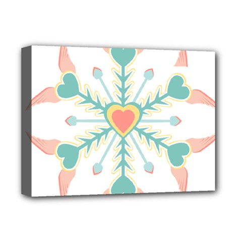 Snowflakes Heart Love Valentine Angle Pink Blue Sexy Deluxe Canvas 16  X 12