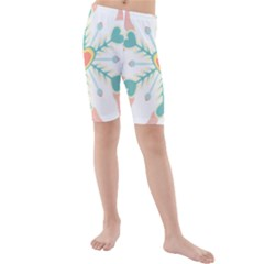 Snowflakes Heart Love Valentine Angle Pink Blue Sexy Kids  Mid Length Swim Shorts