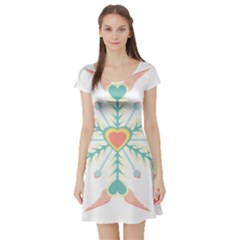 Snowflakes Heart Love Valentine Angle Pink Blue Sexy Short Sleeve Skater Dress