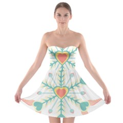 Snowflakes Heart Love Valentine Angle Pink Blue Sexy Strapless Bra Top Dress