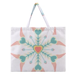 Snowflakes Heart Love Valentine Angle Pink Blue Sexy Zipper Large Tote Bag