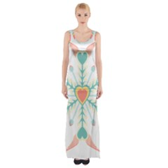 Snowflakes Heart Love Valentine Angle Pink Blue Sexy Maxi Thigh Split Dress