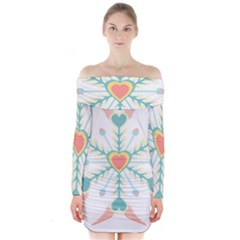 Snowflakes Heart Love Valentine Angle Pink Blue Sexy Long Sleeve Off Shoulder Dress