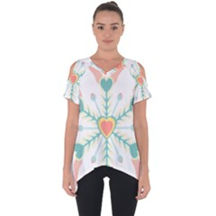 Snowflakes Heart Love Valentine Angle Pink Blue Sexy Cut Out Side Drop Tee