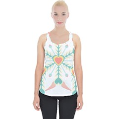 Snowflakes Heart Love Valentine Angle Pink Blue Sexy Piece Up Tank Top