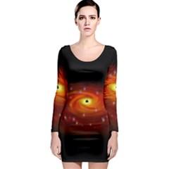Space Galaxy Black Sun Long Sleeve Bodycon Dress