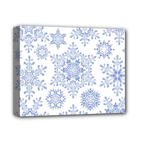 Snowflakes Blue White Cool Deluxe Canvas 14  X 11