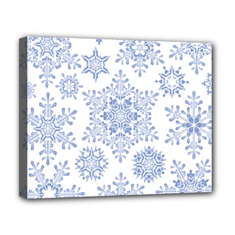 Snowflakes Blue White Cool Deluxe Canvas 20  X 16