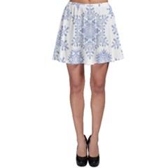 Snowflakes Blue White Cool Skater Skirt