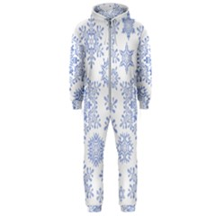Snowflakes Blue White Cool Hooded Jumpsuit (men)