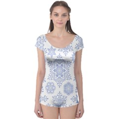 Snowflakes Blue White Cool Boyleg Leotard