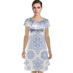 Snowflakes Blue White Cool Cap Sleeve Nightdress