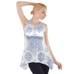 Snowflakes Blue White Cool Side Drop Tank Tunic