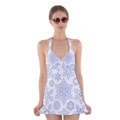 Snowflakes Blue White Cool Halter Swimsuit Dress