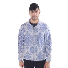 Snowflakes Blue White Cool Wind Breaker (men)