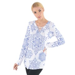 Snowflakes Blue White Cool Tie Up Tee