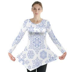 Snowflakes Blue White Cool Long Sleeve Tunic