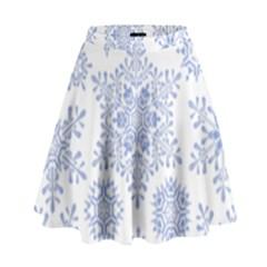 Snowflakes Blue White Cool High Waist Skirt